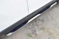 Пороги труба с накладкой Chevrolet Captiva 2013- (d76)