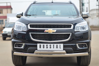Защита переднего бампера - дуга Chevrolet Trailblazer 2013 (75*42/75*42)