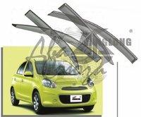 Ветровики - дефлекторы окон Nissan March/Micra K13 2010+ с молдингом