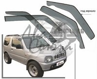 Ветровики - дефлекторы окон Suzuki Jimny 2005 (широкие под зеркало)