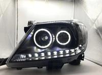 Фары светодиодные + линза Toyota Hilux Vigo 2008 (черные/светлые)