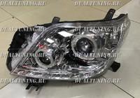 Фары (оптика) диодные Toyota Land Cruiser Prado 150 2014 линза (светлые)