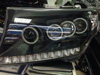 Фары тюнинг оптика Toyota Land Cruiser 200 линза диодные черные