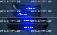 Накладки на пороги с подсветкой (метал) Toyota Corolla Axio 140/160
