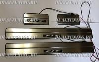 Накладки на пороги с подсветкой (метал) Honda Fit 2008-2011