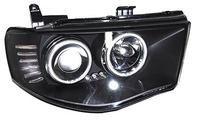 Фары (оптика) диодные Mitsubishi L200 / Triton 2005+ (линза+ангельские глазки) черные