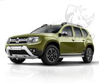 "Пороги ""Black Rhino"" Renault Duster 2015- труба d62 с накладкой ч. сталь сер. (вариант 3)"